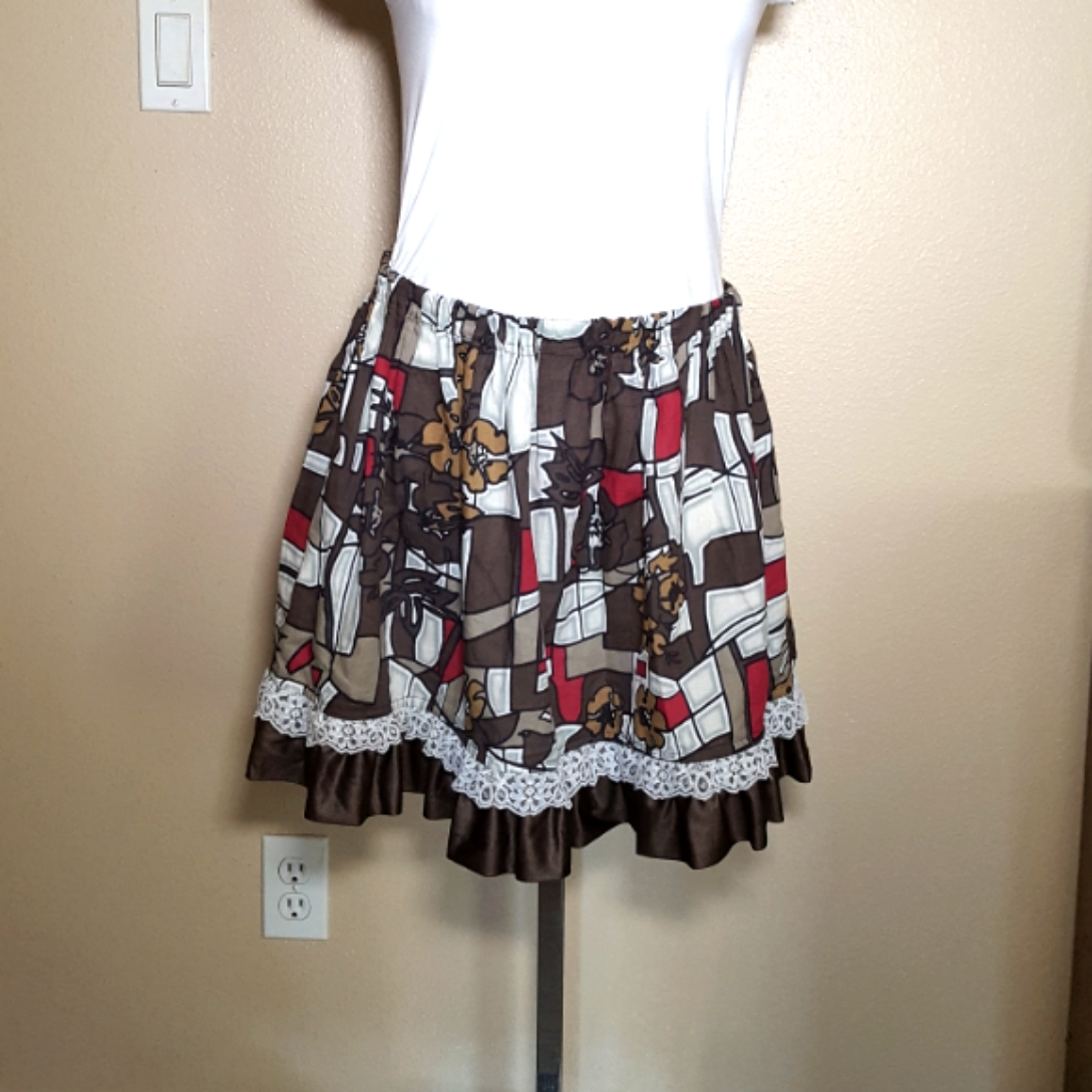 Balinese fabric skirt brown