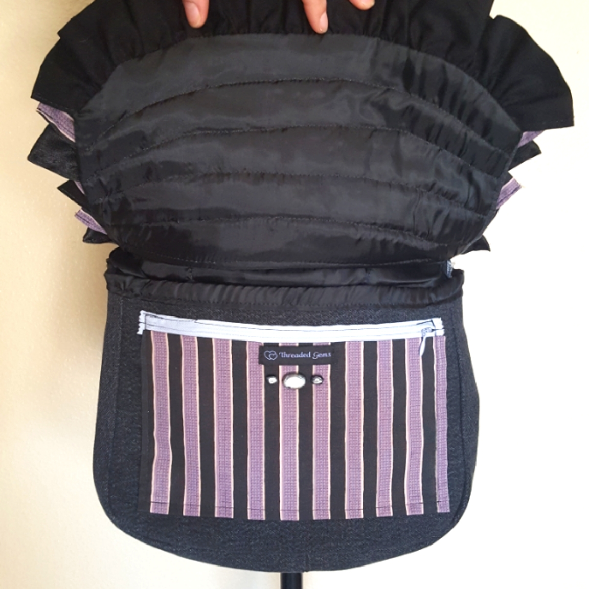 Bustle bag purple open