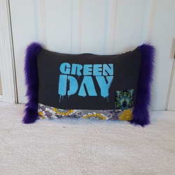 Upcycpled tshirt pillow punk rock green