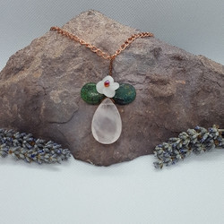 wire wrapped rose quartz and chrysoprase