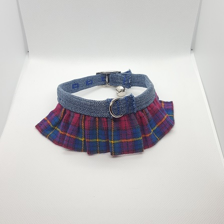 Dog Collar ruffle pink blue