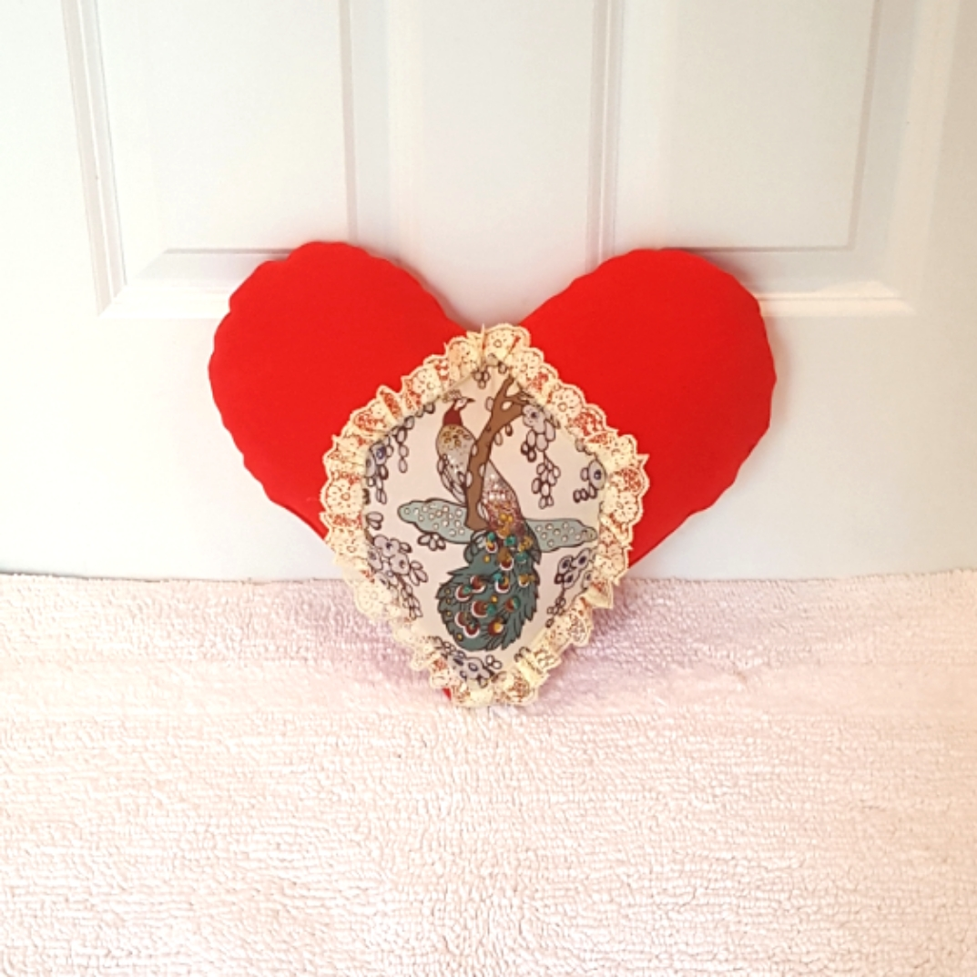 Heart Pillow with peacock