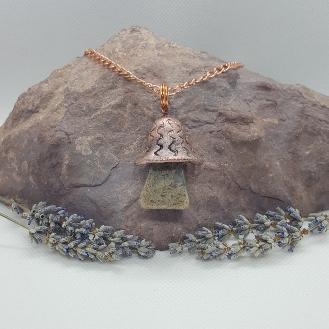 Electroformed mushroom necklace moss aga