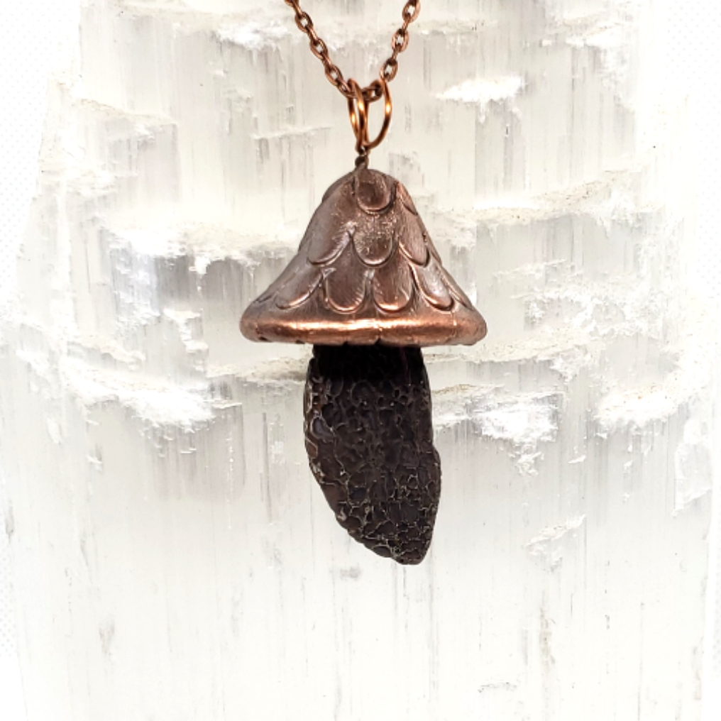 Electroplated Mushroom necklace dino bon