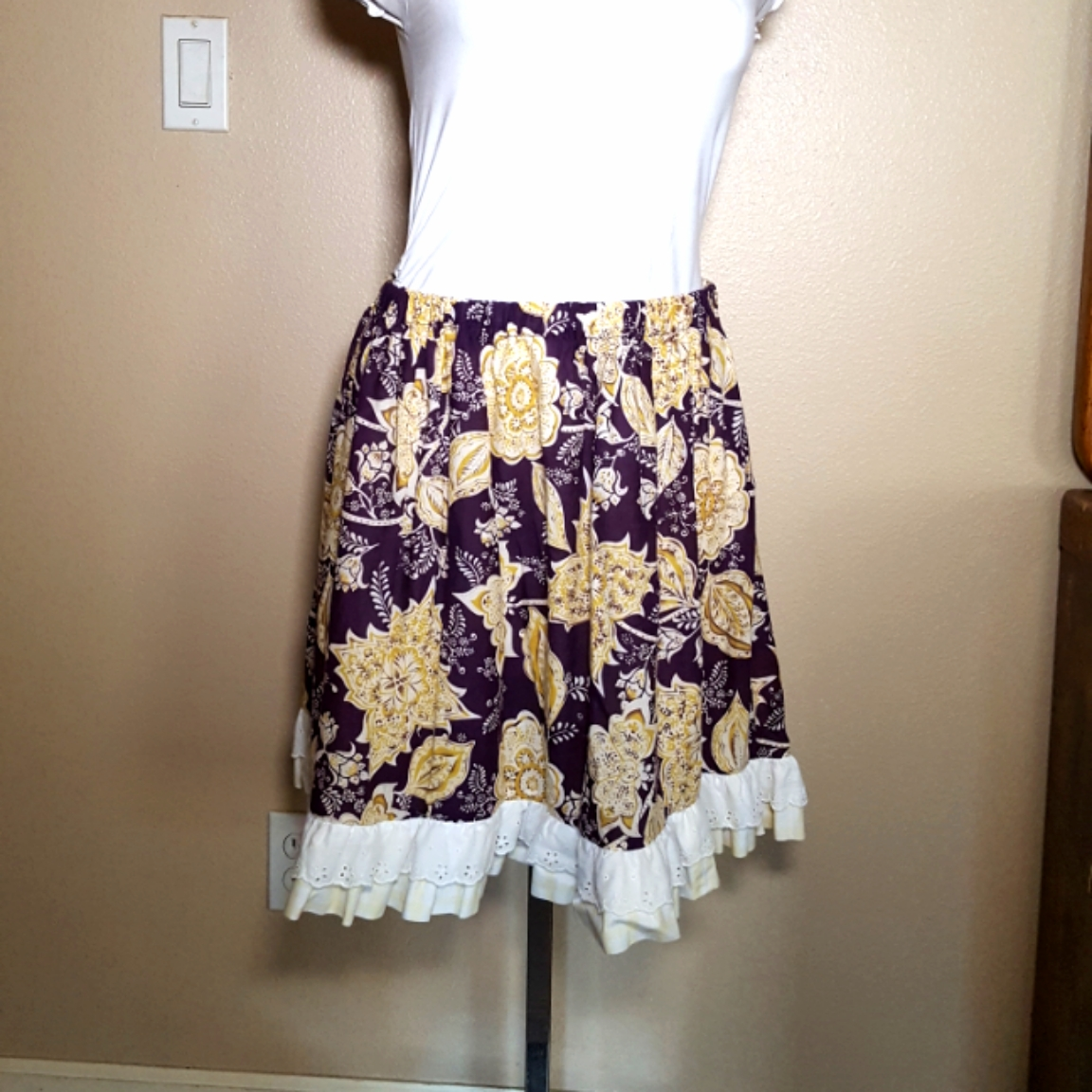 Balinese fabric skirt purple and yellow.