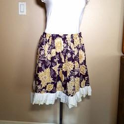 Balinese fabric skirt purple and yellow.