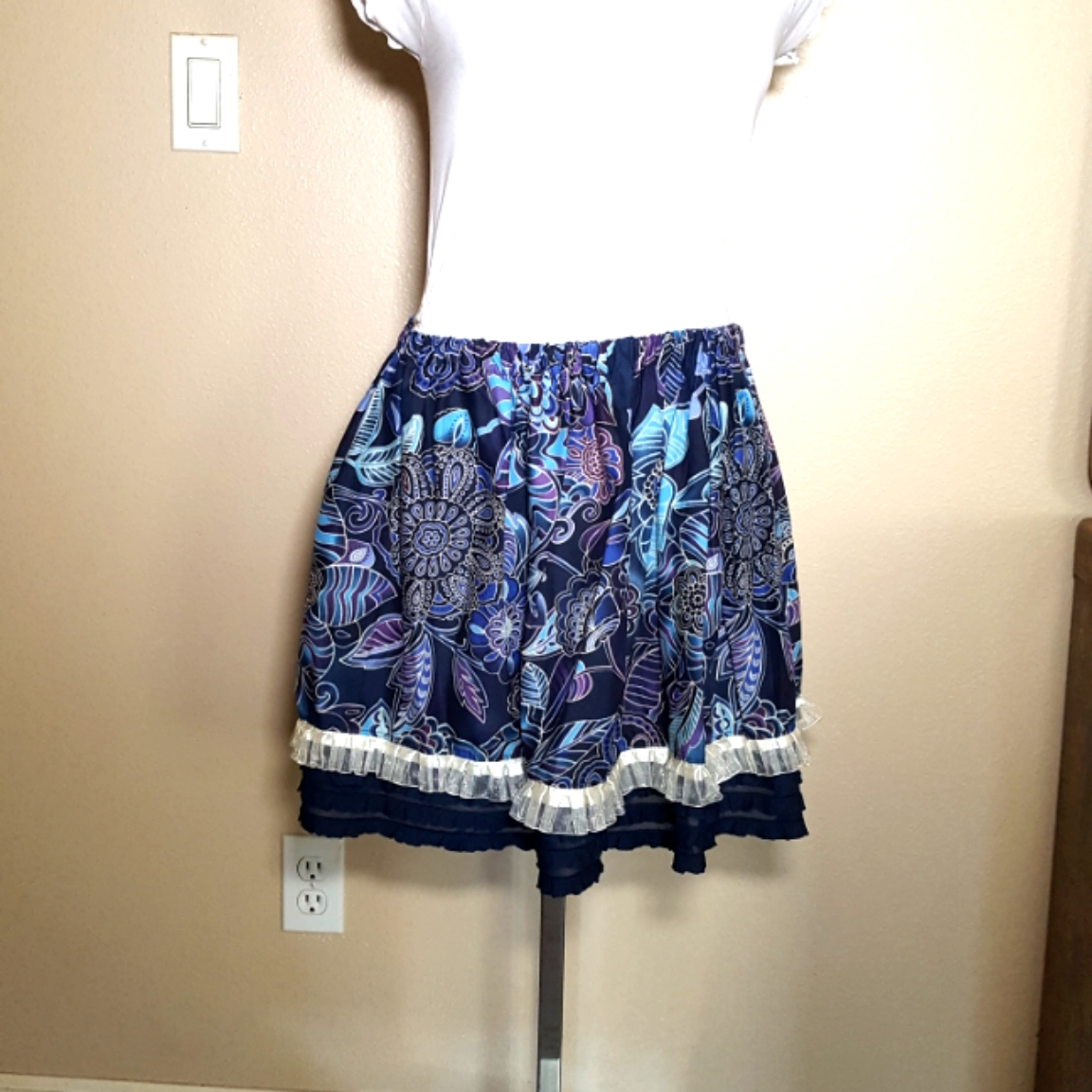 Balinese fabric skirt blue and purple ru
