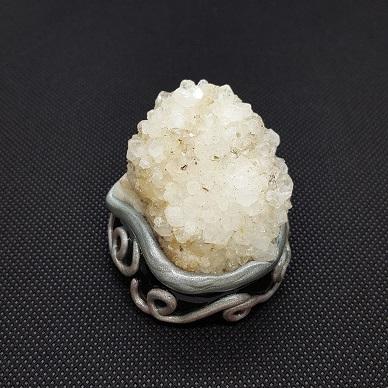 druzy quartz silver spiral