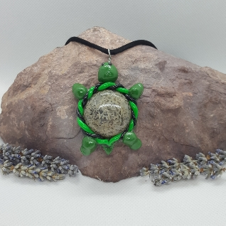 turtle pendant with moss agate cabachon