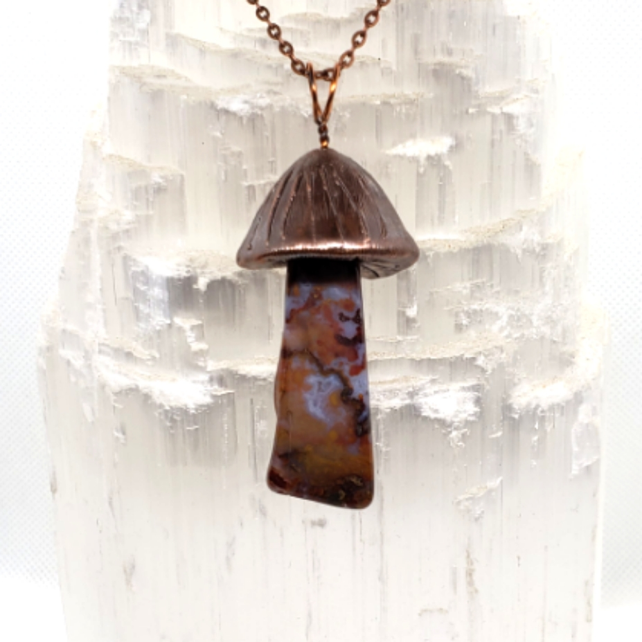 Electroplated Mushroom necklace jasp aga