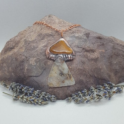Electroformed mushroom necklace double a
