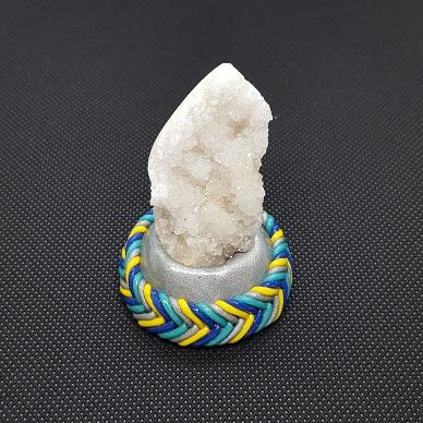 quartz polished teal blue yellow