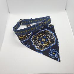 Dog Collar bandana blue mandala