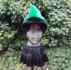 Green shimmer skirt set