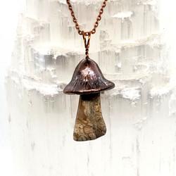 Electroplated Mushroom necklace Petrifie