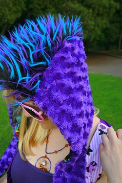 Purple mohawk hood