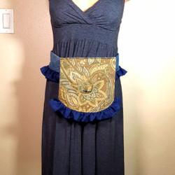 Ruffled hip bag brown paisley and blue