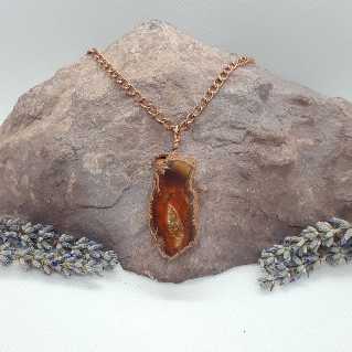 Electroformed pendant necklace carnelian