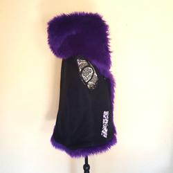 Purple hooded Vest profile