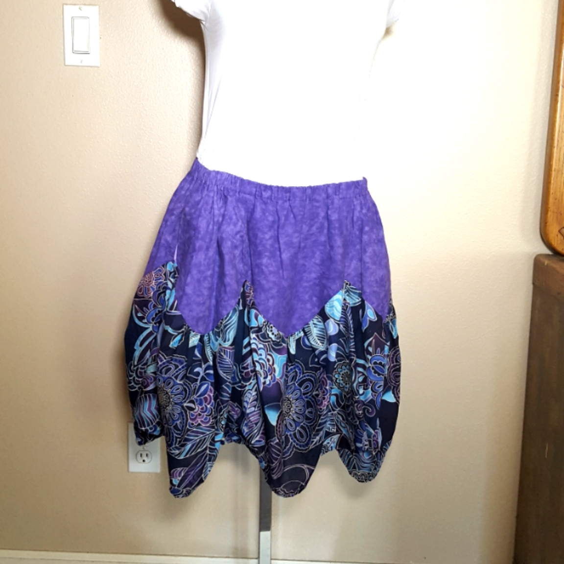 Balinese fabric skirt purple bindweed fl