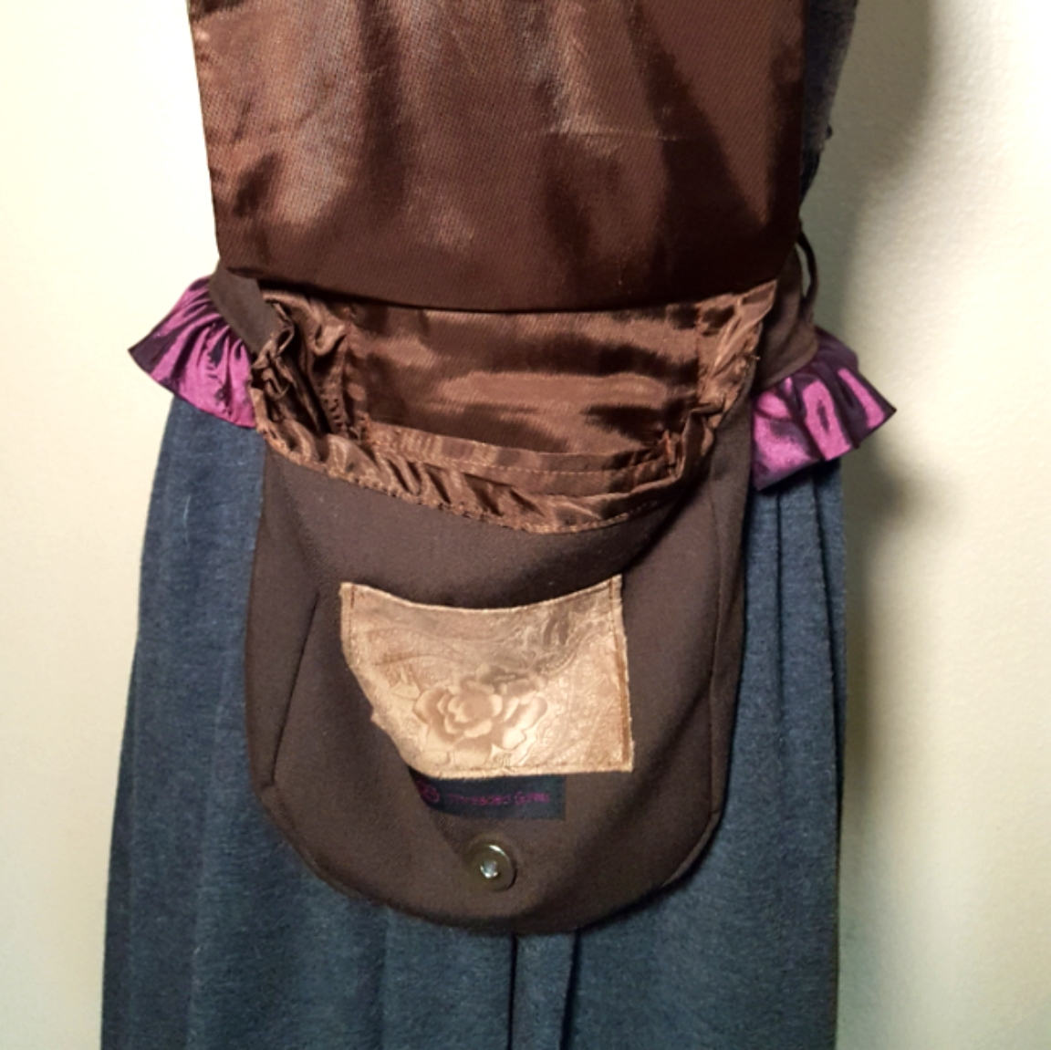 Ruffled hip bag maroon and purple open