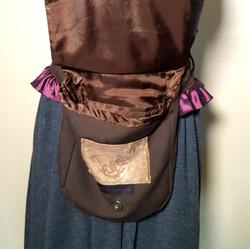Ruffled hip bag maroon and purple open