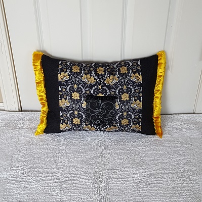pocket pillow gold black damask front