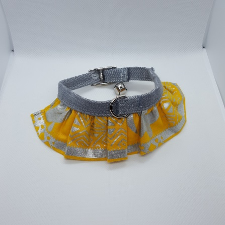 Dog Collar yellow ruffle