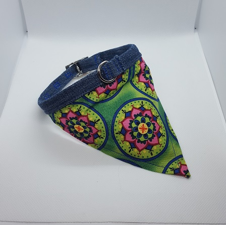 Dog Collar bandana green mandala
