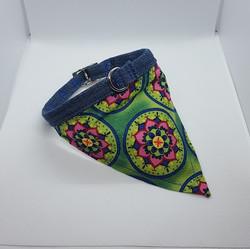Dog Collar bandana green mandala
