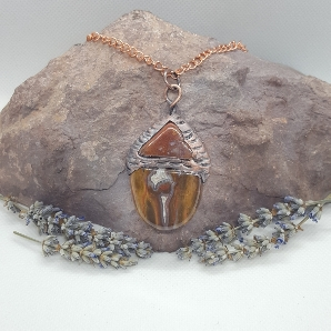 Electroformed acorn necklace jasper and