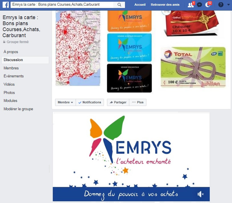Groupe facebook Emrys la carte