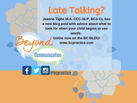 Just Late Talking?  from Jeanne Tighe M.A., CCC-SLP, BCS-CL