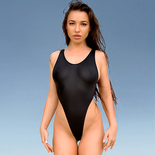Cheeky high cut leg one piece swimsuit Sexy monokini Designer Black bodysuit