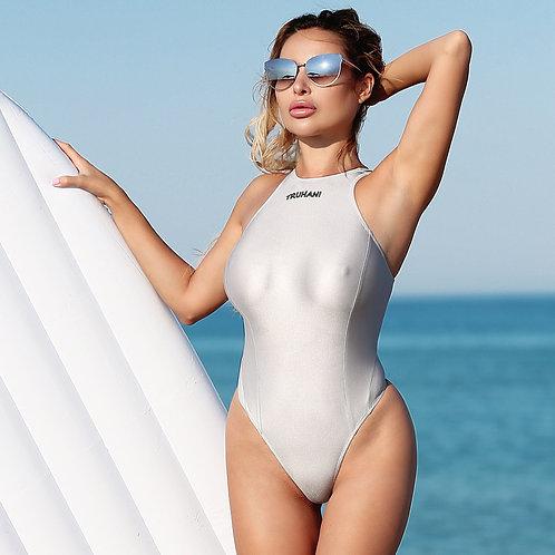 Sexy cute sheer one piece thong swimsuit See through high neck bathing suit Erotic womens bodysuit High leg monokini swimwear
