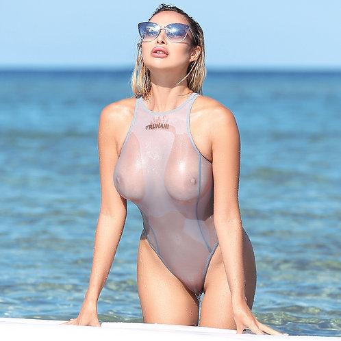 Sexy cute see through one piece swimsuit High cut hot sheer thong bodysuit women Cheeky monokini High neck designer swimwear