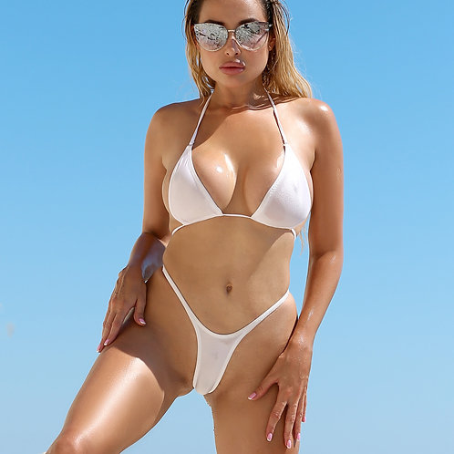 Cheeky hot sheer micro bikini bottom set Extreme sexy thong panties and top See through high waisted swimsuit Cute swimwear