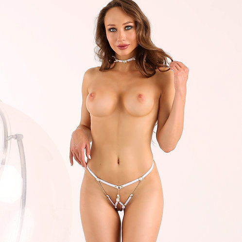 Sexy bridal fetish crotchless lingerie Cheeky harness White bdsm thong panties