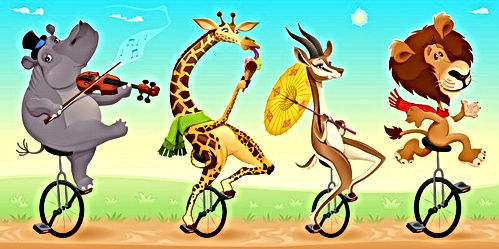 funny-animals-sauvages-monocycles-vector