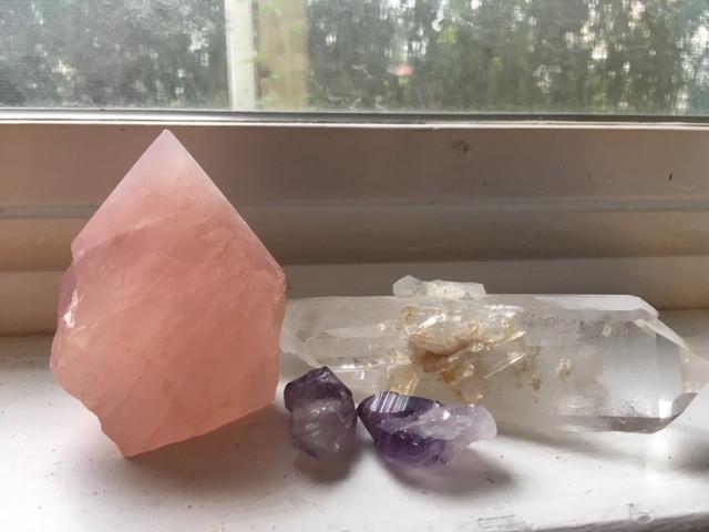 My own rose quartz, amethyst crystals, and clear quartz.