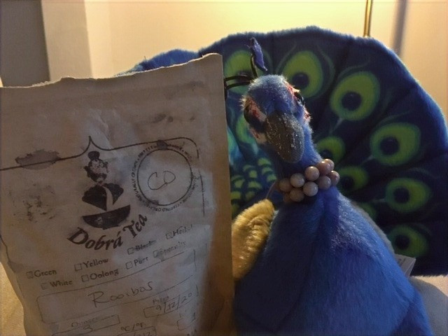 Peacock Riley (a stuffed toy peacock) shows off a pouch of Dobra tea
