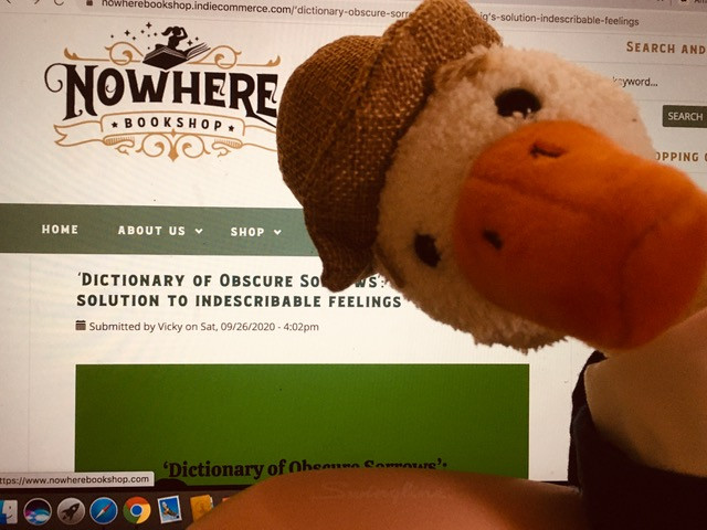 Duck is in front of the Nowhere Bookshop blog, which is on a laptop screen