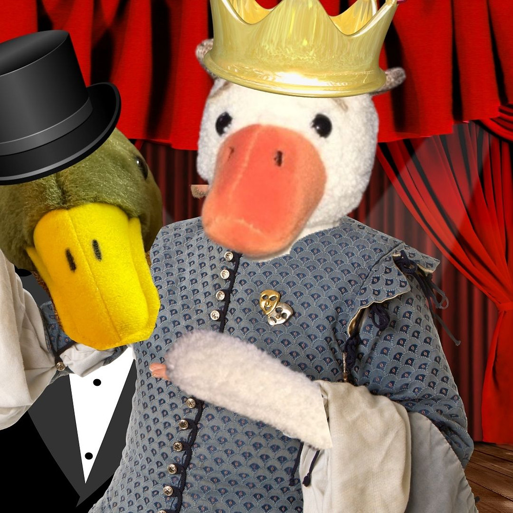 Sir Mallard, wearing a top hat and tux, photo-bombs Duck, during Duckbeth, by peering over Duck's shoulder.