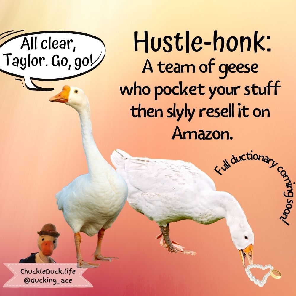 """The image shows geese stealing a pearl necklace. It also defines """"hustle-honk"""" as a team of geese who pocket your stuff, then slyly re-sell it on Amazon."""