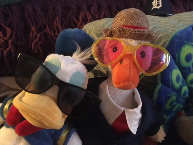 Donald Duck and Duck (stuffies both) posting in their shades. Duck's are rose-tinted and heat-shaped.