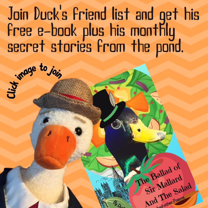 Duck invites you to join his friend list and get his free poety e-book plus his monthly secret stories from the pond. Click the image to join.