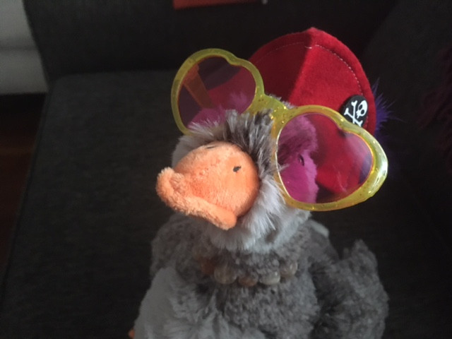 Goose Luce wears a red pirate hat and pink, heart-shaped shades