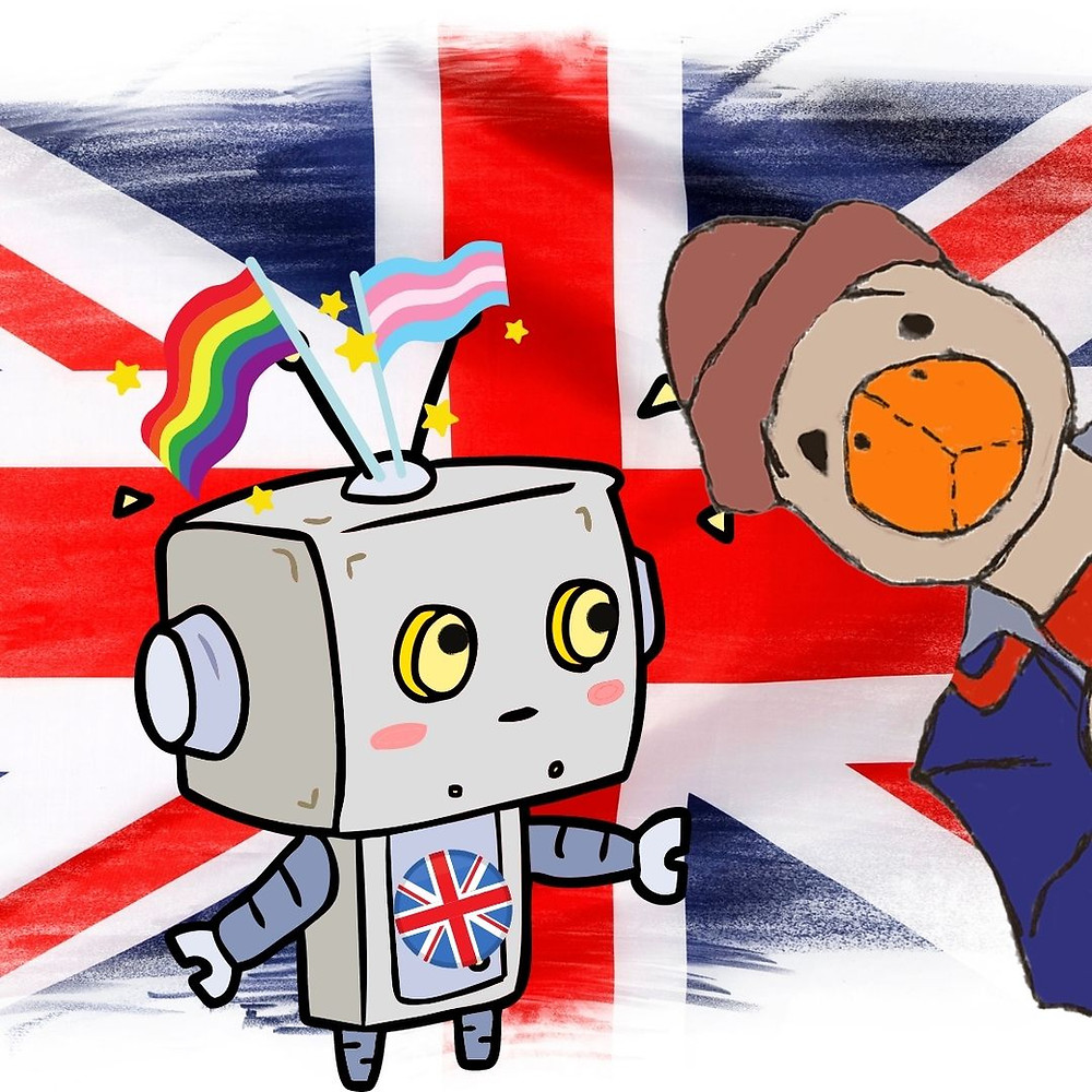 Duck hangs out with Trans Robot, who is a small robot with a square head and both a Trans Pride Flag and Queer Trans Flag sprouting up from his head. There is a Union Jack (U.K.) flag behind.