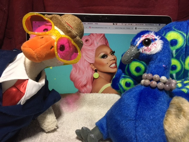 Duck and Peacock Riley, both stuffies, pose with an image of RuPaul