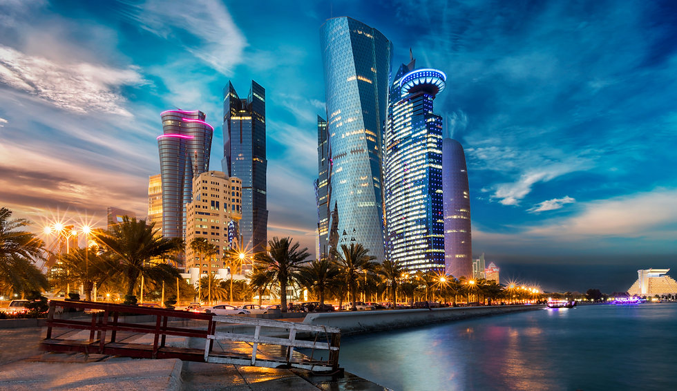 The skyline of Doha city center after su